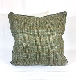English Wool Pillow Sham - Light Green & Blue Plaid