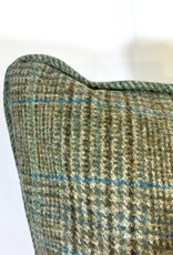 English Wool Pillow - Light Green & Blue Plaid