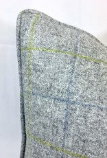 English English Wool Pillow - Light Grey & Green Plaid