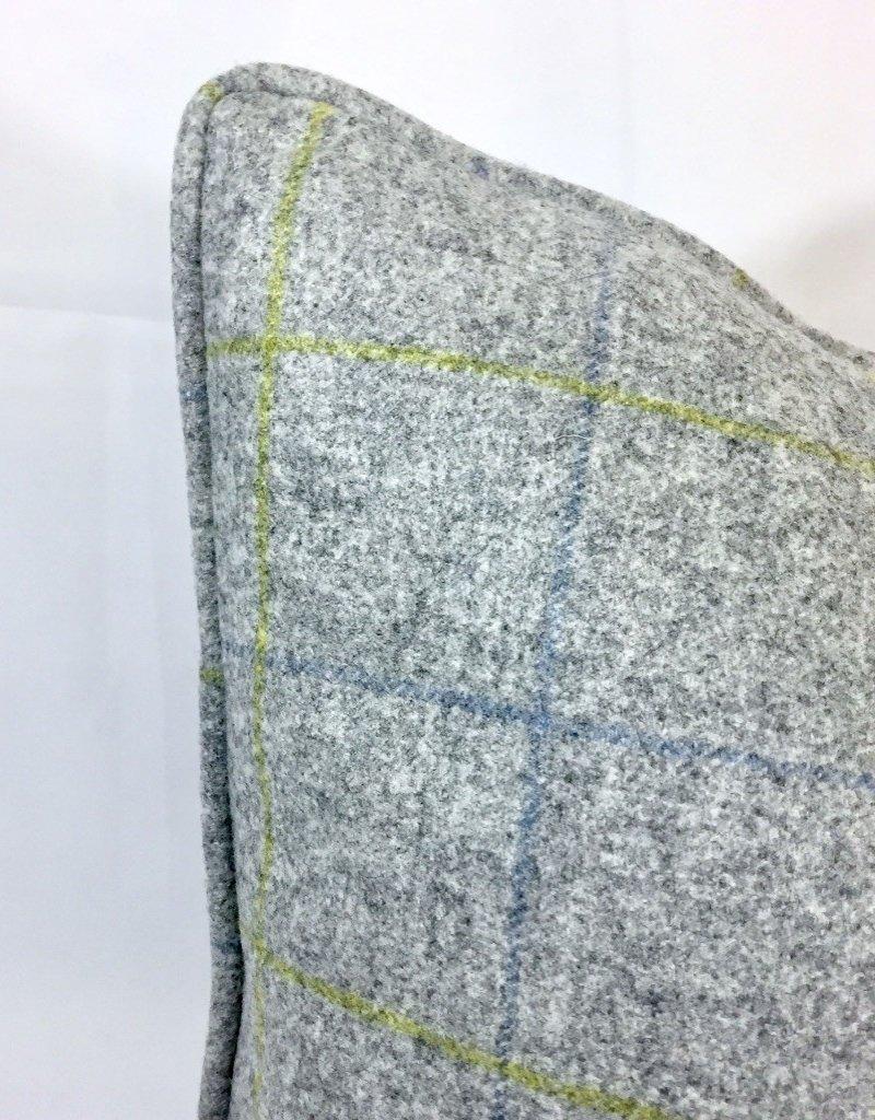 English Wool Pillow - Light Grey & Green Plaid