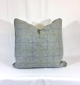 English Wool Pillow Sham - Light Grey & Green Plaid