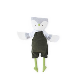 Hazel Village Jeremy Owl in Picnic Overalls and White Shirt