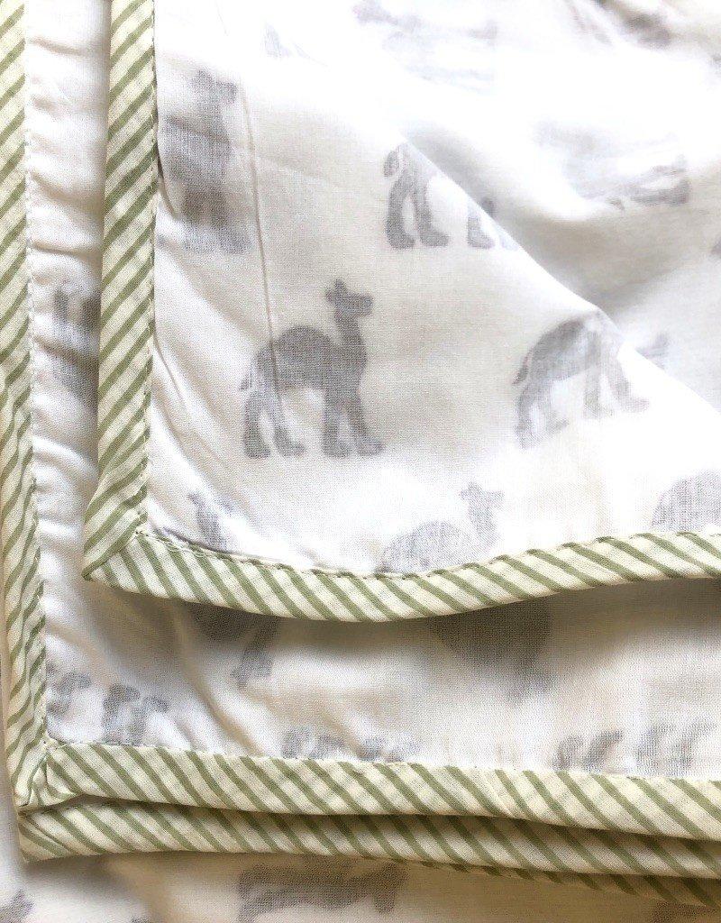 Mela & Roam Dohar Baby Blanket - Green Chameau