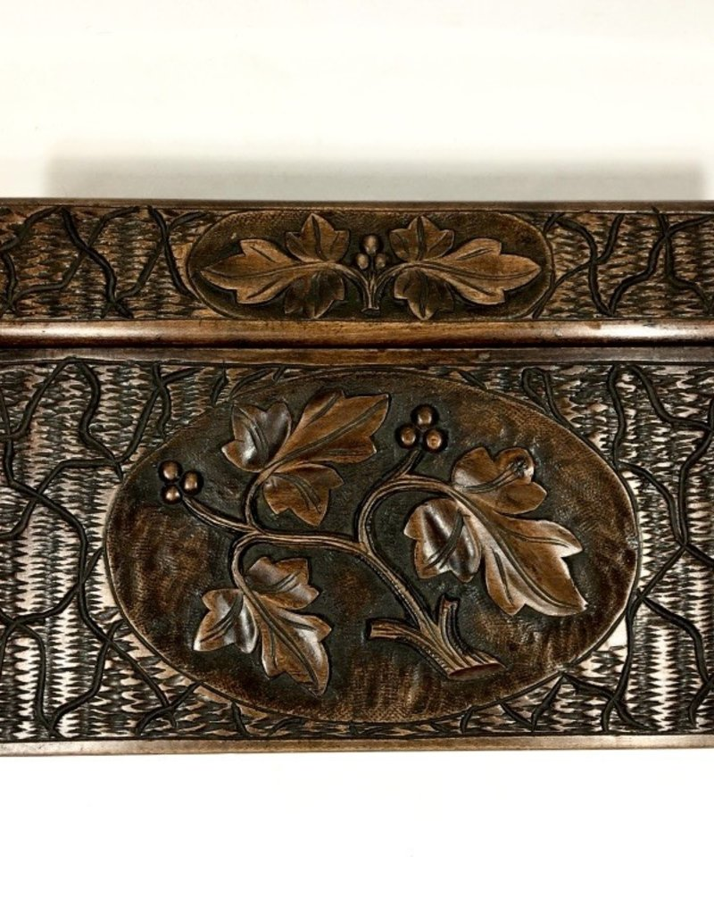 Vintage Carved Wooden Writing Box