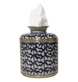 Blue/White Leaf Tissue Box