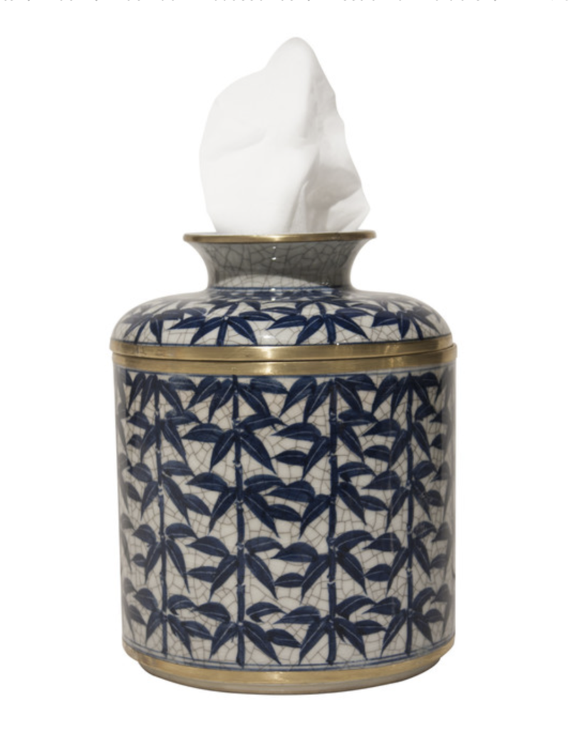 Blue/White Bamboo Leaf Tissue Box