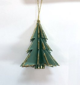 Wood Tree Ornament - Green