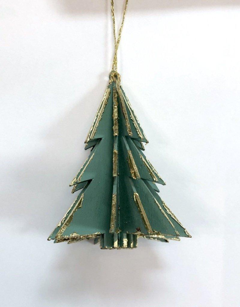 Wood Tree Ornament - Green