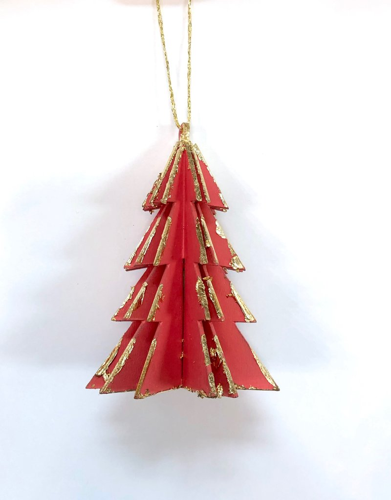 Wood Tree Ornament - Coral
