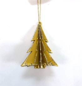 Wood Tree Ornament - Yellow