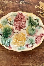 Vintage Majolica Platter - Yellow, Green & Purple Floral