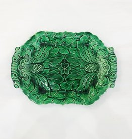 Vintage Green Majolica Platter w/ Strawberries