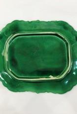 Vintage Green Majolica Platter w/ Strawberries