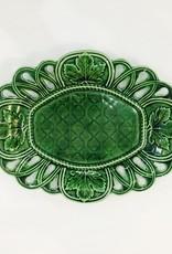 Vintage Green Majolica Platter w/ Oak Leaves