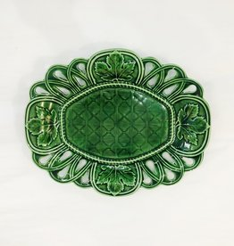 Vintage Green Majolica Platter w/ Oak Leaves
