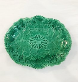 Majolica Green Majolica Platter - Grape Leaf & Basket Weave Edge