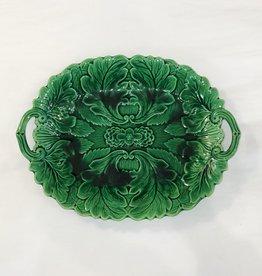 Vintage Green Majolica Platter - Leaf Pattern & Handles