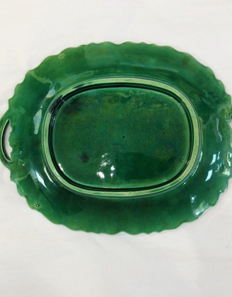 Vintage Green Majolica Platter