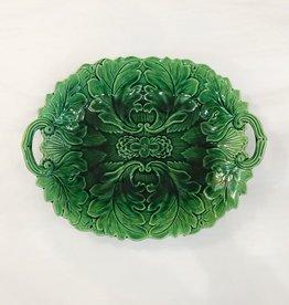 Vintage Green Majolica Platter Leaf Pattern & Handles 2