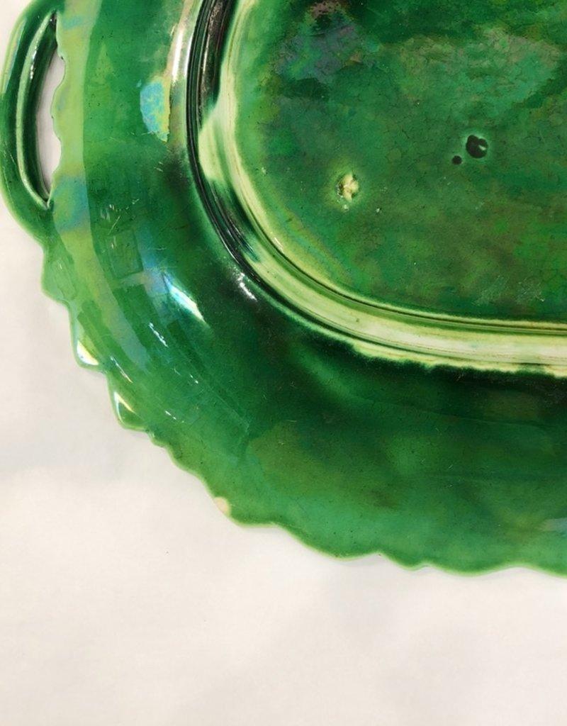 Vintage Green Majolica Platters - 1 of 2