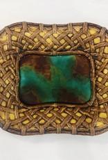 Vintage Majolica Platter with Basket Weave Edges