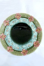 Majolica Large Majolica Blue, Green & Pink Floral Plate