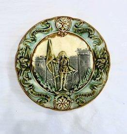 Majolica Majolica Joan of Arc plate - Green, Grey & Blue