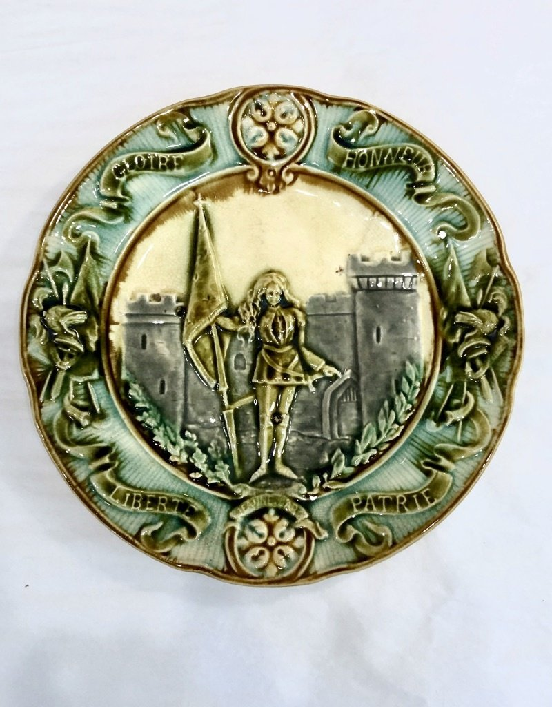 Majolica Majolica Joan of Arc plate - Green, Grey & Blue