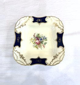 Vintage Antique Plate - Square w Roses in Middle