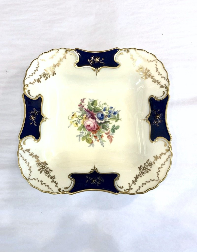 Antique Plate - Square w Roses in Middle