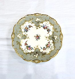 Vintage Grey & White Plate w/ Gold Trim