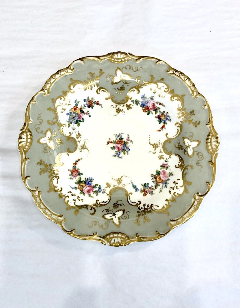 Grey/White/Gold Floral Plate