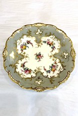 Vintage Grey/White/Gold Floral Footed Plate