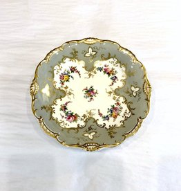 Vintage Grey & White Footed Plate w/ Gold Trim