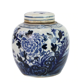 Blue & White Mini Jar Flower Blossom