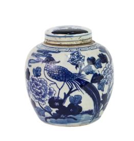 Blue & White Mini Jar Pheasant w/ Peony