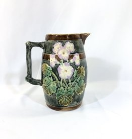 Vintage Majolica Pitcher Leaf and Floral