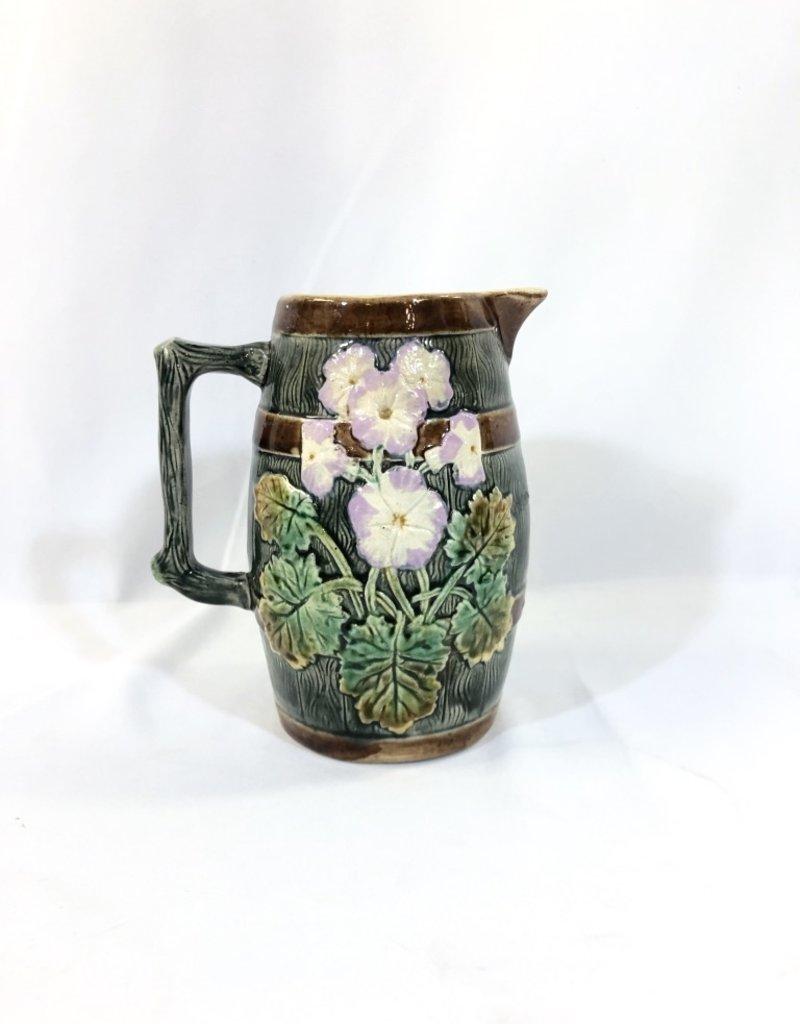 Vintage Majolica Pitcher Leaf and Floral