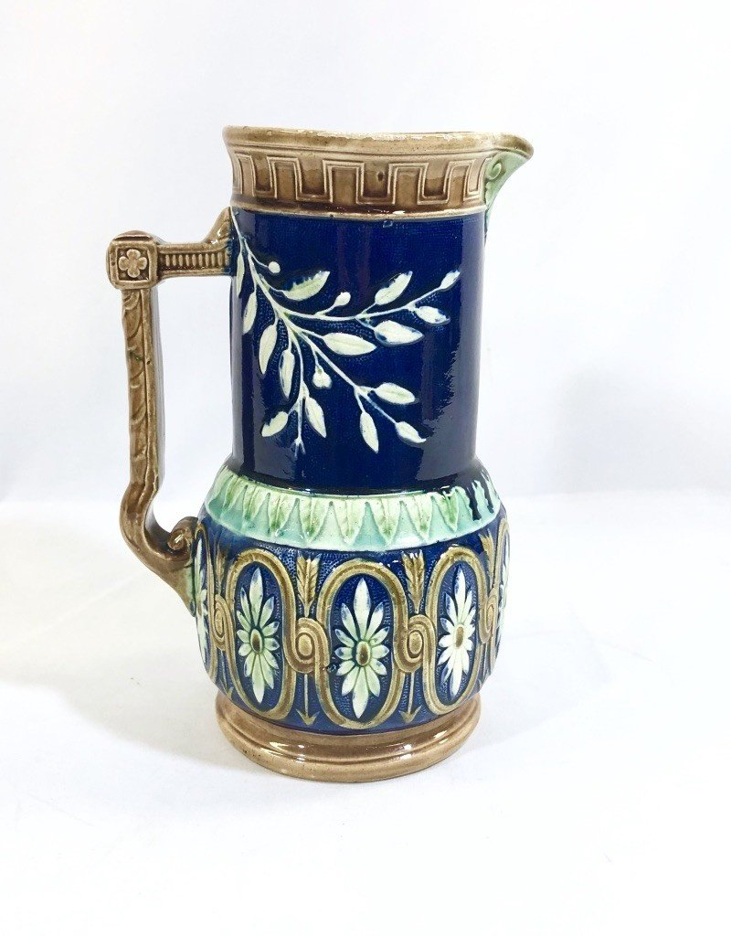 Majolica Pitcher Navy and Turquoise w Floral