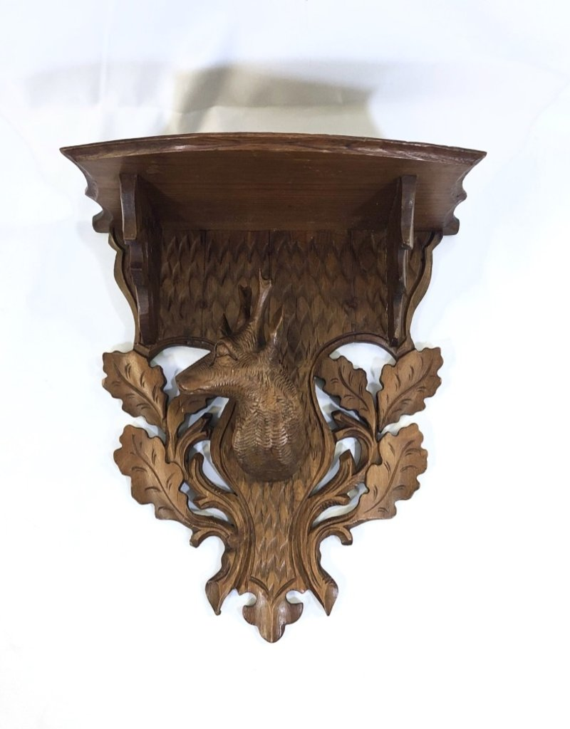 Vintage Black Forrest Shelf w/ Deer Head/Oak Leaves