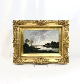 "Vintage Antique Framed Art - ""On The River"""