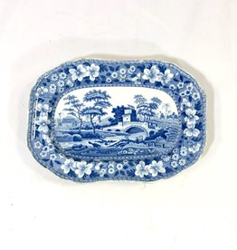 Vintage Antique Spode Platter - Blue & White 9.25""