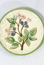 Majolica White/Green Floral Plate