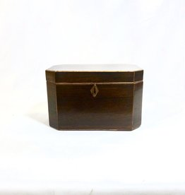 Vintage Rosewood Box Tea Caddy w/ Wooden Stringing