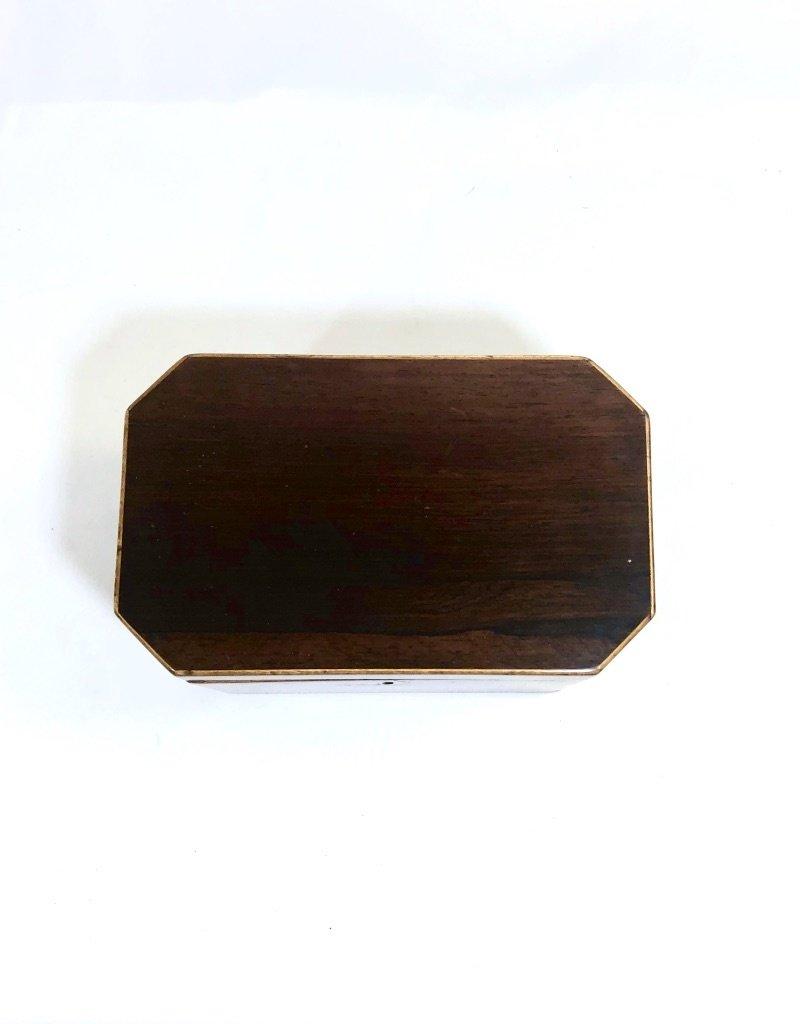 Vintage Rosewood Box Tea Caddy w/ Wooden Stringing