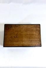 Vintage Walnut Wood Box w/ 2 Port Glasses