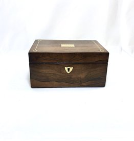 Vintage Late Georgian Rosewood Box w/ Scalloped Brass Detail/ Marbled Interior