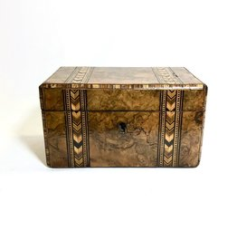 Vintage Burlwood Tea Caddy Wood Box w/ Intricate Inlay