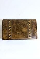 Vintage Burlwood Tea Caddy Wood Box w/ Intricate Inlay