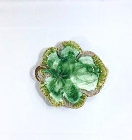 Vintage Large Leaf Majolica Platter - Green & Pink